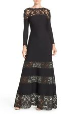 New NWT Tadashi Shoji Jacky Long Sleeve Illusion Lace Jersey Gown S Petite