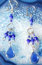 American Ethno Inka Maya Style 09 Earring Alpaca Nickel Silver Blue Native