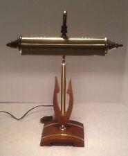 MID CENTURY MODERN SOLID WALNUT/BRASS INLAY DESK READING PIANO LAMP