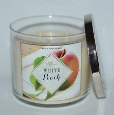 BATH & BODY WORKS WHITE PEACH SCENTED CANDLE 3 WICK 14.5 OZ LARGE FRENCH VANILLA
