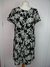 River Island black grey cream floral loose summer dress size 12 nearly new