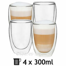Double Walled Thermal Coffee Glass Tumbler Latte Cappuccino Cup Glasses 300ml x4