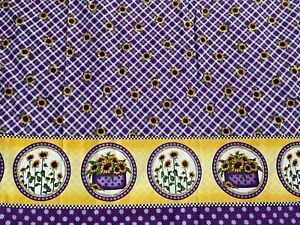 "Purple Plaid Yellow Sunflower Fabric Double Border VIP Angela Anderson 3 Yd 56""W"