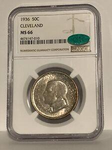 1936 50c Cleveland Half Dollar Commemorative NGC MS66 CAC Nice Toning