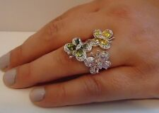 925 STERLING SILVER MULTI-COLORED MINI BUTTERFLY RING W/ 5 cts DIAMOND SZ 5