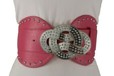 Women Pink Faux Leather Wide Elastic Western Fashion Belt Infinity Buckle S M