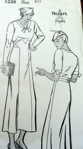 RARE VTG 1930s DRESS NEW YORK Sewing Pattern BUST 40 FF