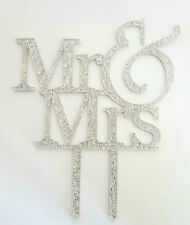 MR AND MRS CAKE TOPPER-WEDDING &-SILVER GLITTERY ACRYLIC SIGN-16x13CM-DECORATION