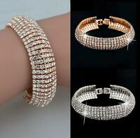 New Fashion Charm Women's Crystal Rhinestone Cuff Bracelet Bangle Jewelry Gift