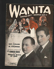 Wanita Wanna Eat? Wanna Eat? 1923 Sheet Music