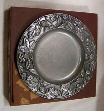 "Longaberger New Falling Leaves 8"" Metalware Metal Plate Candle Holder"