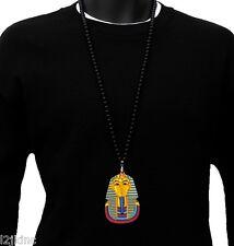 Mens Black Pharaoh Pendant Acrylic Hip Hop Ball Beaded 36 Inch Chain Necklace