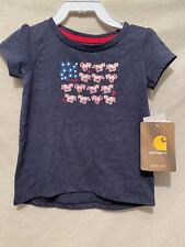 Carhartt Flag/horse Tee Infant Size 9 Mos Nwt Style Ca9577 Navy Heather July 4th
