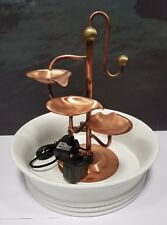 Farmcote - Stunning 3 Leaf Copper Water Feature in White Bowl (pump included)