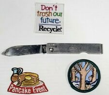 """Vintage GS Girl Scouts Folding Pocket Knife 3-1/2"""" Imperial + patches."""