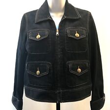 Ralph Lauren Denim Jacket Women's Petite Small Dark Wash Brass Anchor Buttons