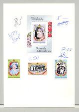 Grenada Grenadines #682-685 Queen Mother 3v & 1v S/S Imperf Proofs on 1v Card