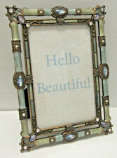 """4X6"""" Antique Vintage Style Blue Brass Crystals Enamel Jeweled Picture Frame"""