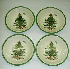 "SPODE Christmas Tree Pattern 6.25"" Cereal Oatmeal Soup Bowl $32 x 4 Set of 4 NWT"