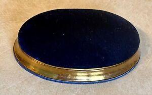 Vintage Waltam velvet watch box/case only, blue velvet & cold color metal