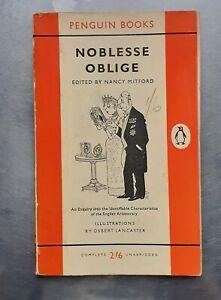 NOBLESSE OBLIGE Edited by Nancy Mitford Vintage Penguin 1st 1959 pb