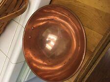 "Solid Copper Egg White Meringue Mixing Bowl 8-1/4"" Brass Ring Korea"