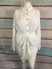 Lane Bryant White Black Button-Down Top Blouse Shirt Size 22
