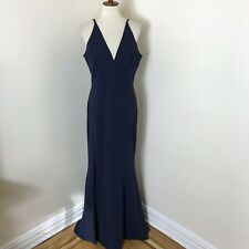 Dress The Population High Slit Gown Size XL Navy Blue Stretch Crepe NWOT $288