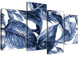 Large Indigo Navy Blue White Tropical Leaves Canvas Art - Multi 4 Piece - 4320