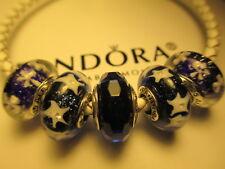 cb1474632 5 Pandora Murano Glass Beads Charms Dark Blue Shimmer Snowflake Star Night  Stamp