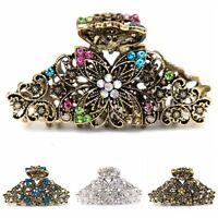 Usa Woman Xlarge Elegant Metal Flowers Rhinestones Crystal Hair Claw Clip Pin Hair Accessories