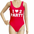 No Boundaries Womens Sz S Red One Piece Swim Suit I Love To Party Baywatch Vibes