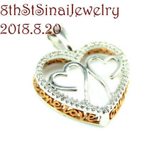 New w/o Tag Triple Open Heart Diamond 14K White & Rose Gold One Love Pendant