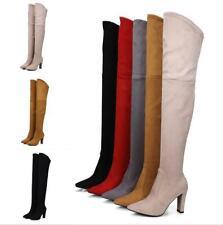 5 Colors Women 9cm Block Heel Pointy Toe Over Knee High Boots Zip Clubwear Shoes