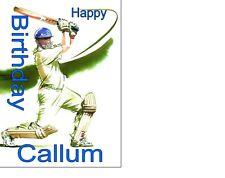 Personalizzato Cricket Giocatore di Cricket Battitore BIRTDAY cake topper glassa A4 foglio 10x8