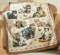 Cat Quilt Throw Quilted 50x60 Blanket Decor Kitty Lover Gift