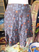 WHITE STUFF Lovely Ladies Cotton Puffball Skirt Size 14 Navy Bird Print