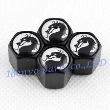 Black Styling Metal Angry Battle Dragon Car Wheel Tyre Tire Stem Air Valve Caps