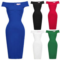 Womens Vintage Wiggle Cocktail Pencil Retro Off Lady Party Bodycon Pencil Dress