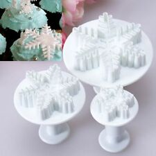 3X Snowflake Plunger Mold Decorating Cake Tool Cookie Cutter Fondant Sugarcraft