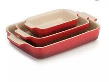 Le Creuset 3 Piece Cerise Oven Baking Stoneware Set (NEW)