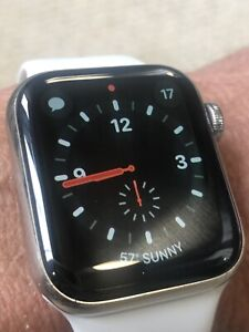 Apple Watch Series 4 40mm Stainless Steel Case w/ White Sport Band (GPS + Cell)