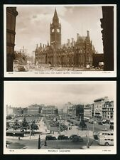 Lancashire Lancs MANCHESTER Albert Sq + Piccadilly 2 c1940/50s RP PPCs by Tuck