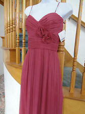 AMSALE crinkle chiffon Silk Sleeveless Full-Length Evening Dress Gown 2 pink