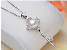"""Silver Freshwater Pearl Four Leaf Clover Key 18"""" Chain Necklace Holiday Gift"""