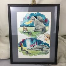 VINTAGE CHILDS ROOM ORIGINAL WATERCOLOUR PAINTING PICTURE FRAMED BOY AND DRAGON