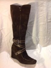 Geox Dark Brown Knee High Suede Boots Size 39