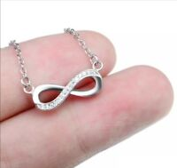 """2.5 CT Round Cut 14k White Gold Toned Solitaire Pandent Infinity Necklace + 18"""""""