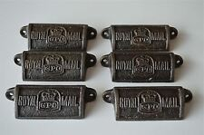 6 VINTAGE GHISA Royal Mail GPO Drawer Pull maniglie petto POST OFFICE GPO
