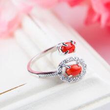 Natural Red Coral Crystal Rare Wedding Adjustable Woman Ring AAAAA